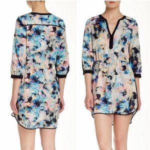 Parker watercolor floral silk dress